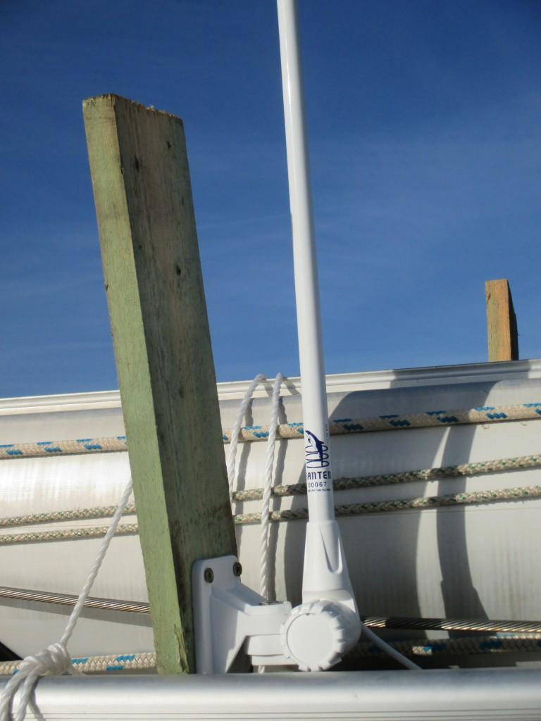 VHF antenna mid-ship deck support.