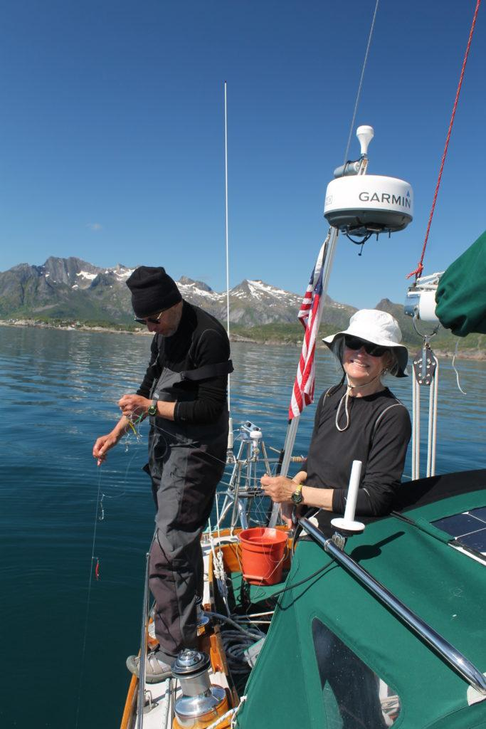 Jack & Debbi S/Y Iroquois try their hand at Norwegian fishing.