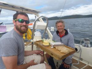 Lunch on deck just after exiting the Crinan Canal.
